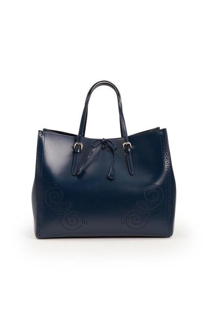 Mizalle - حقيبة جلدية كبيرة مطرزة (الأزرق الداكن) (1)