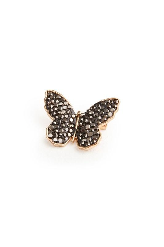 Zirkon Taşlı Kelebek Broş (St)