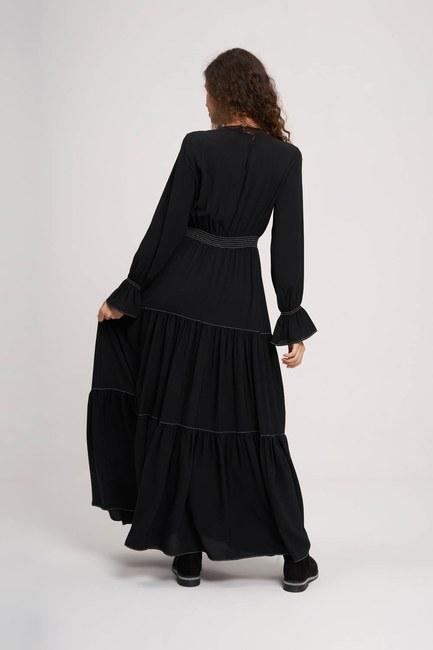 Beli Büzgülü Lastikli Elbise (Siyah) - Thumbnail