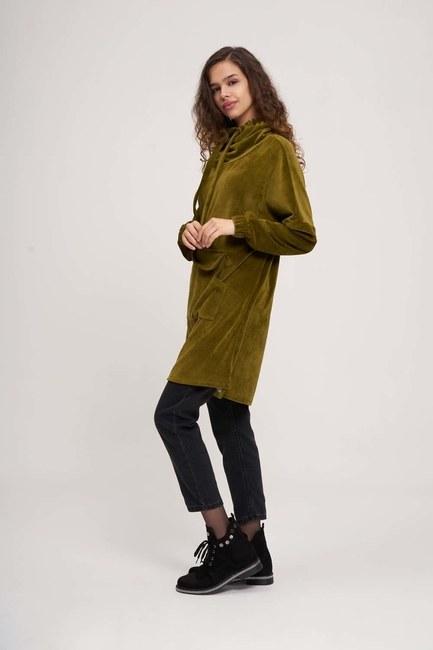 Uzun Kadife Sweatshirt (Haki) - Thumbnail