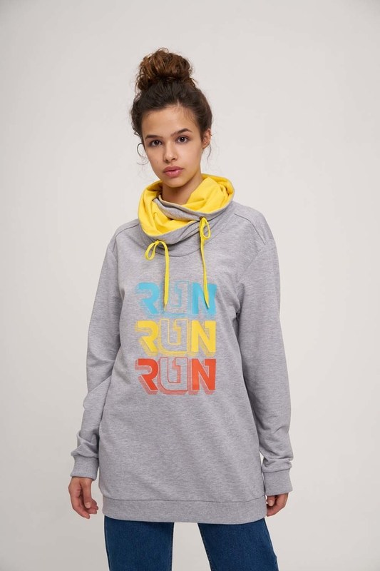 Run Baskılı Sweatshirt (Beyaz)