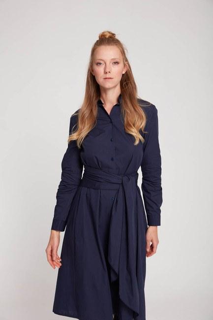 Mizalle Dik Yaka Gömlek Elbise (Lacivert)