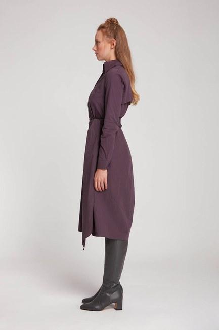 Dik Yaka Gömlek Elbise (Mürdüm) - Thumbnail