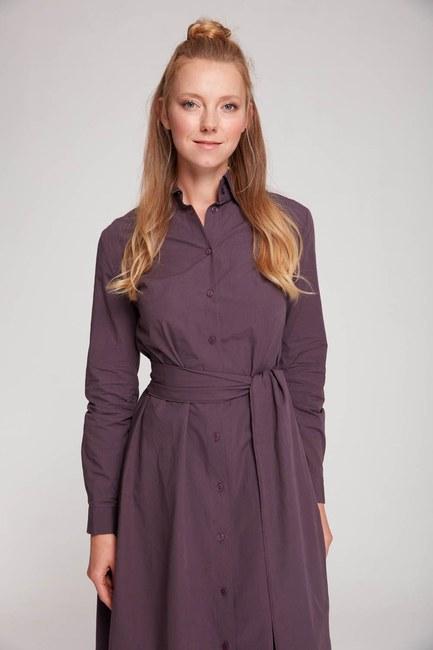 Mizalle Dik Yaka Gömlek Elbise (Mürdüm)