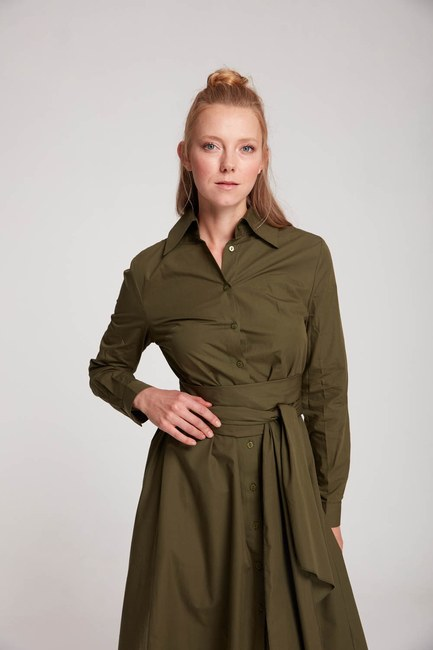 Mizalle Dik Yaka Gömlek Elbise (Haki)