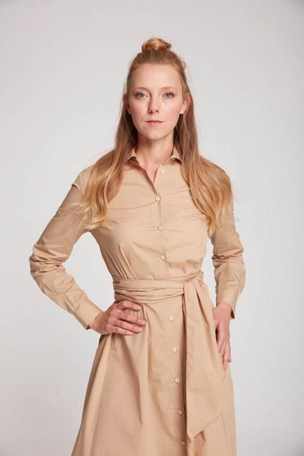 Mizalle Dik Yaka Gömlek Elbise (Bej)