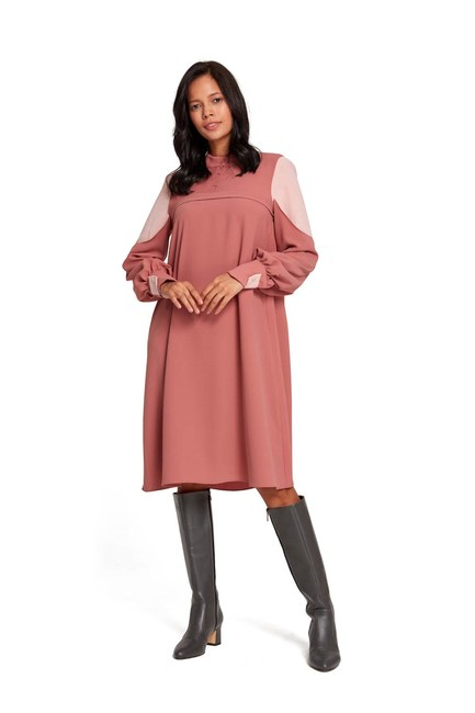Mizalle - Kolları Parçalı Tunik Elbise (Gül Kurusu) (1)