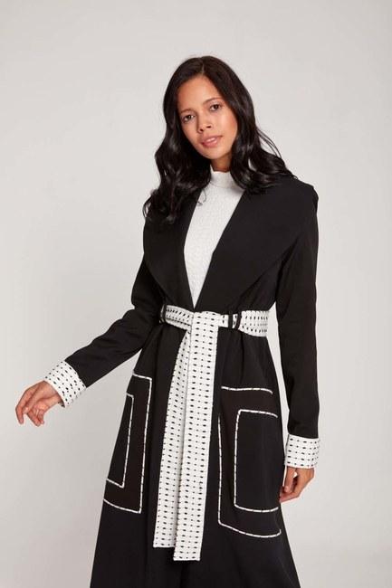 Mizalle - معطف منقوش بحزام منقوش (أسود) (1)
