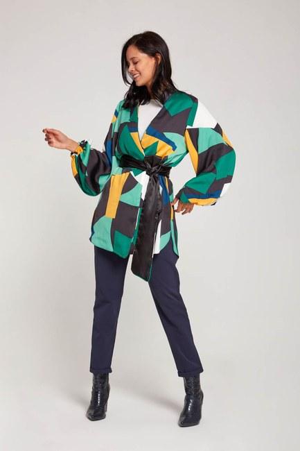 Desenli Saten Kimono (Yeşil) - Thumbnail