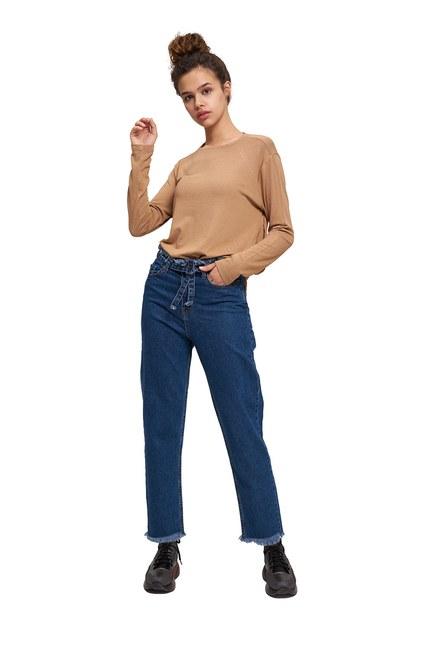 Kuşaklı Püsküllü Mom Denim Pantolon (Mavi) - Thumbnail