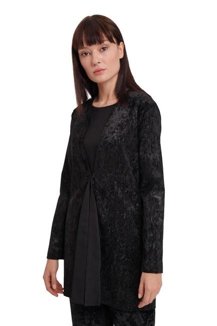 Mizalle - Fitilli Kadife Ceket (Siyah) (1)
