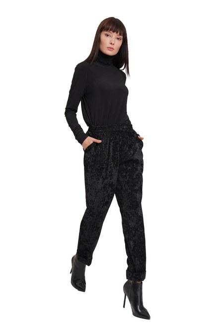 Mizalle - Kadife Tasarım Pantolon (Siyah) (1)