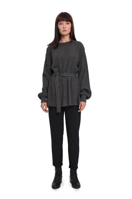 Mizalle - Balloon Sleeve Sweater (Anthracite) (1)