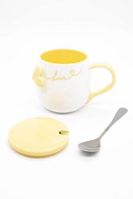 Mizalle Home - Kaşıklı Porselen Kupa (Turuncu) (1)