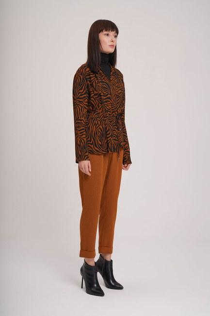 Mizalle - Beli Lastikli Pile Detaylı Pantolon (Taba) (1)