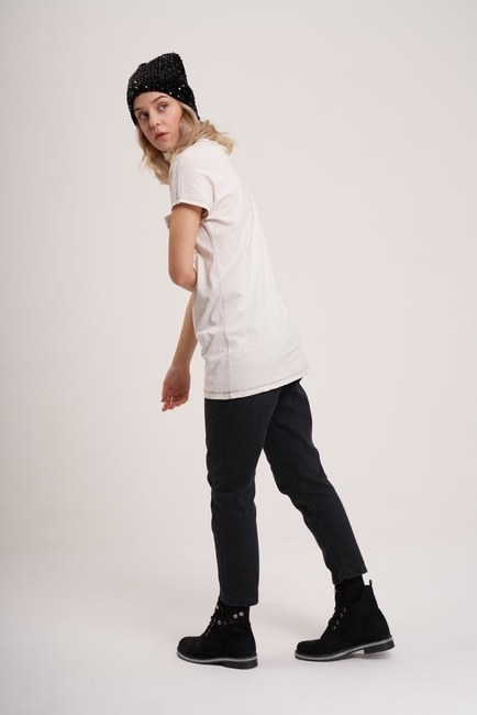 Mizalle Youth - Cep Detaylı Basic T-Shirt (Ekru) (1)