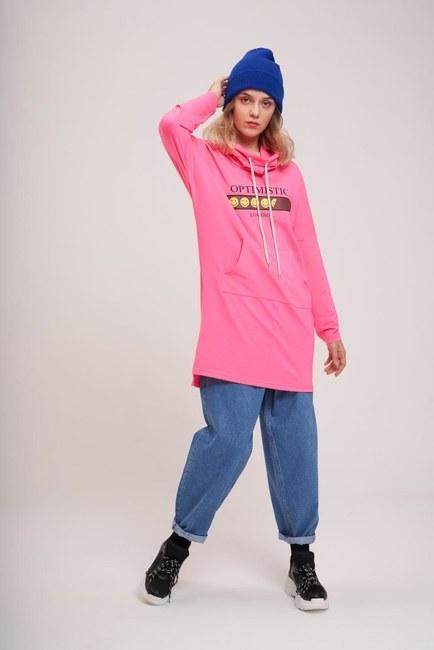 Mizalle Youth Emoje Baskılı Sweatshirt (Fuşya)
