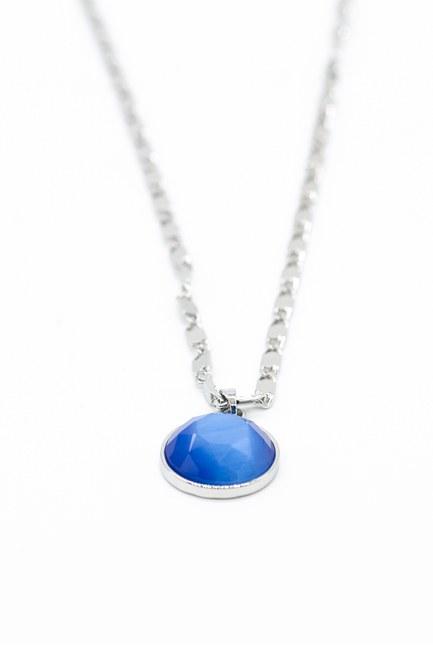 Mizalle - Mavi Taşlı Zincir Kolye (Gri) (1)
