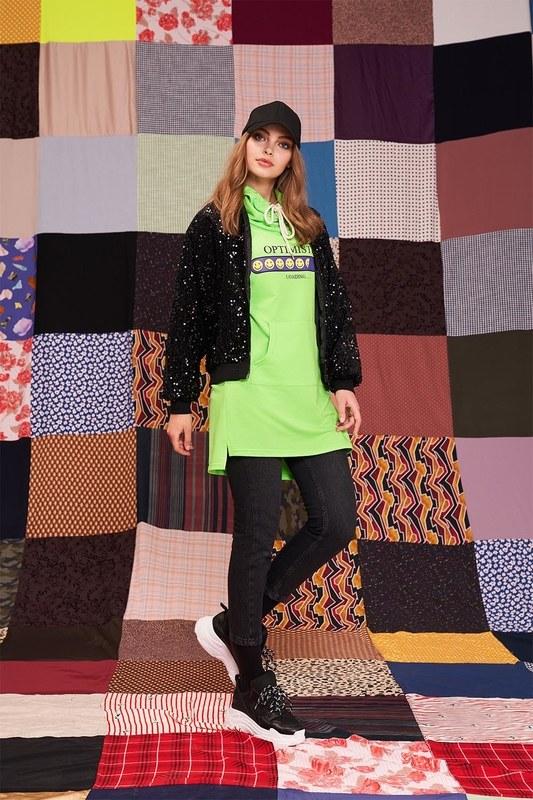 Emoje Baskılı Sweatshirt (Yeşil)