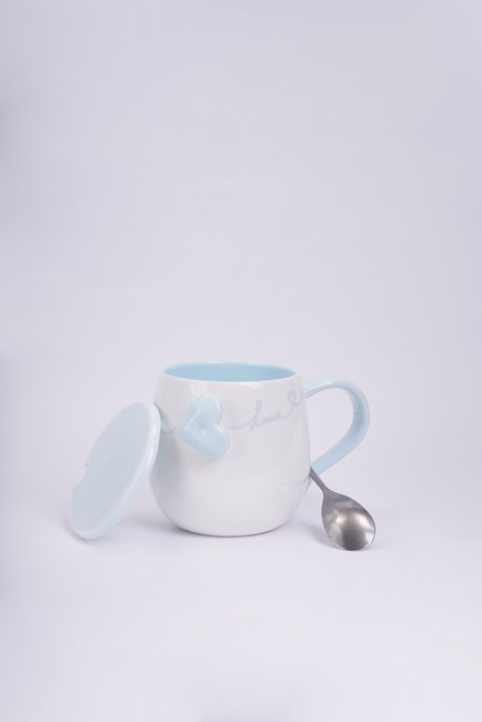 Mizalle Home - Kaşıklı Porselen Kupa (Mavi) (1)