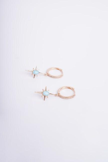 Mavi Taşlı Yıldız Küpe (Sarı) - Thumbnail