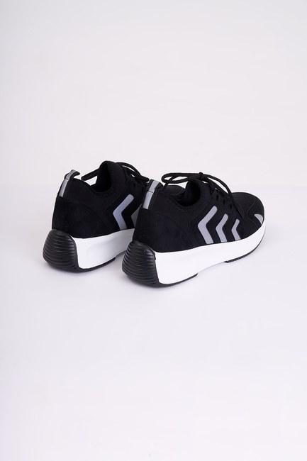 Mizalle - حذاء رياضي من قماش سكوبا مخطط ( أسود ) (1)