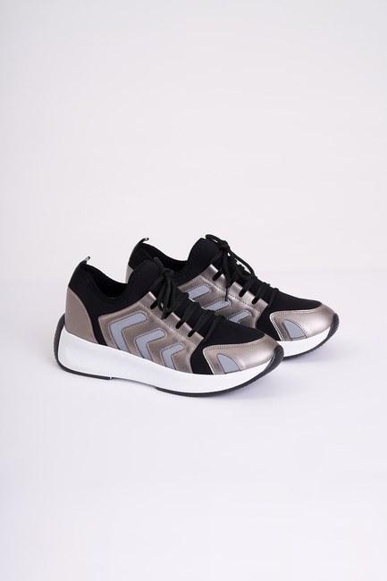 Mizalle - حذاء رياضي من قماش سكوبا مخطط ( رمادي ) (1)
