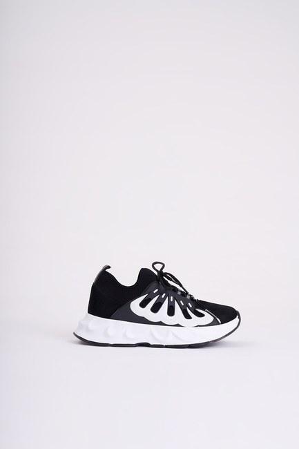 Mizalle - حذاء رياضي من قماش سكوبا مرن ( أسود ) (1)