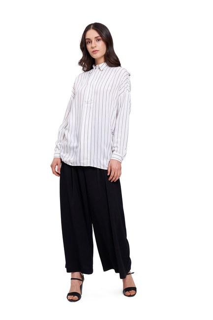 Mizalle - بلوزة قميص بياقة مستقيمة(عَاجِيّ) (1)
