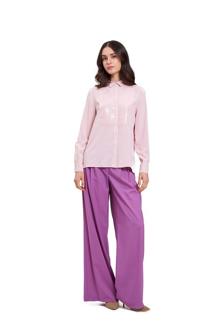 Mizalle - بلوزة قميص مع تفاصيل أمامية (وردي فاتح) (1)