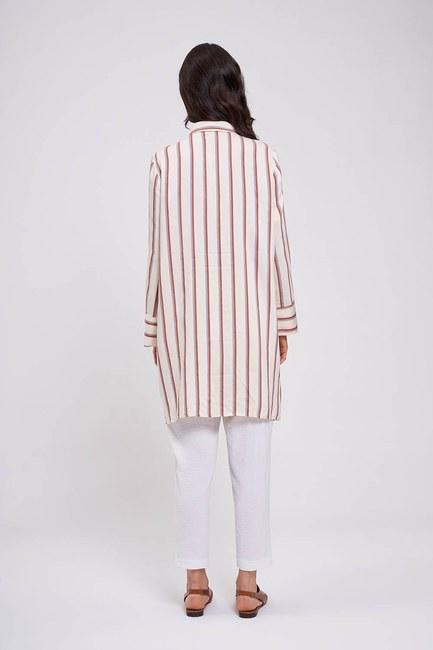 Çizgili Saten Tunik Elbise (Ekru) - Thumbnail