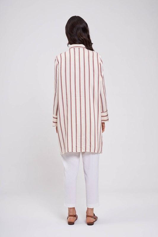 Çizgili Saten Tunik Elbise (Ekru)