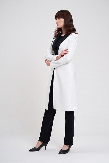 Mizalle - Nakış Detaylı Tasarım Ceket (Beyaz) (1)