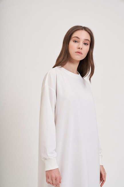 Mizalle Youth - تنورة منقوشة ستايل فستان سويت شيرت ( بيج فاتح ) (1)