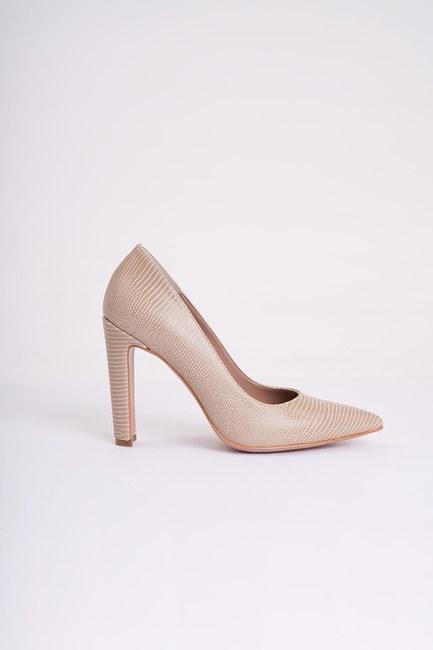 Mizalle - حذاء بكعب عالي سميك ( بيج ) (1)