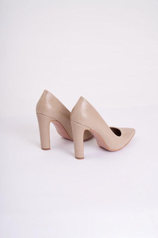 Kalın Topuklu Stiletto (Kroko Bej)