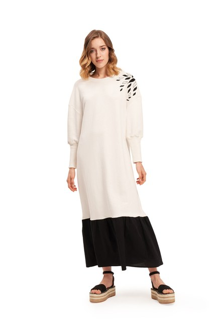 Mizalle - İki İplik Omuzu Nakışlı Elbise (Ekru) (1)