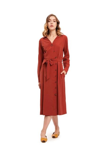 Mizalle - Çapraz Düğmeli Elbise (Kiremit) (1)