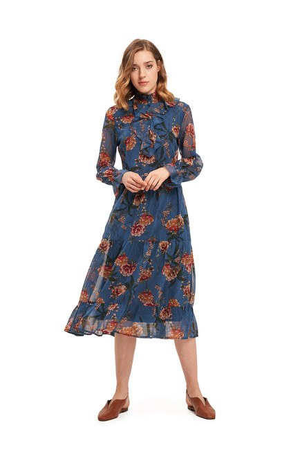 Mizalle - Frilly Front Floral Dress (Blue) (1)
