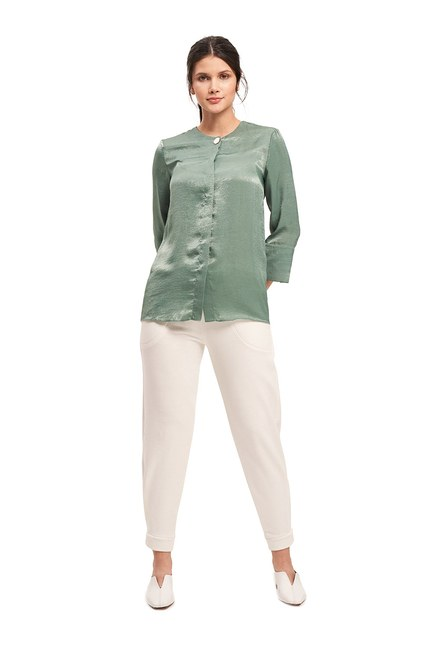 Mizalle - Trim Buttoned Blouse (Green) (1)