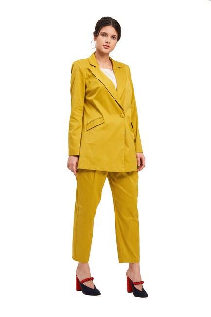 Mizalle - Saten Tasarım Uzun Ceket (Safran) (1)