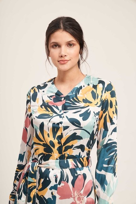 Mizalle - Buttoned Floral Pattern Dress (Colorful) (1)