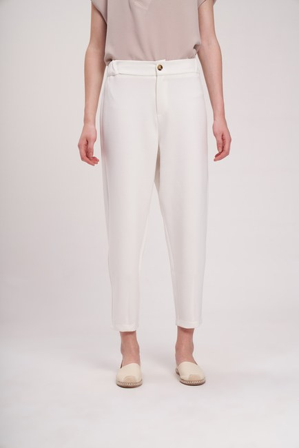 Mizalle - Three Yarn Front Buttoned Trousers (Ecru) (1)