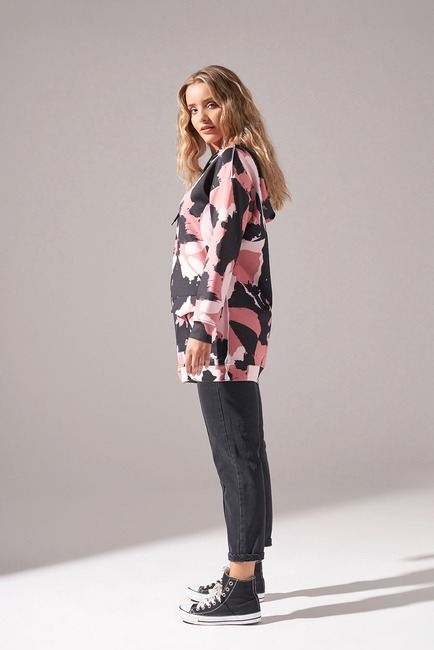 Mizalle Youth - Digital Printed Scuba Sweatshirt (Rose) (1)