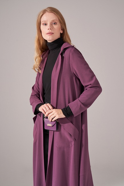 Mizalle - Aerobin Hooded Cape (Purple) (1)