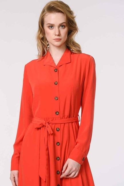 Mizalle - Soft Clean Patlı Elbise (Kırmızı) (1)