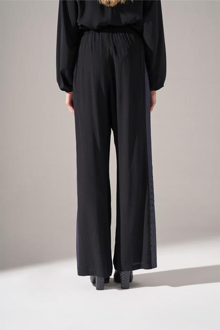 Mizalle - Denim Detaylı Pantolon (Siyah) (1)