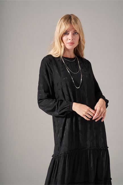 Mizalle - Alt Etek Fırfırlı Elbise (Siyah) (1)