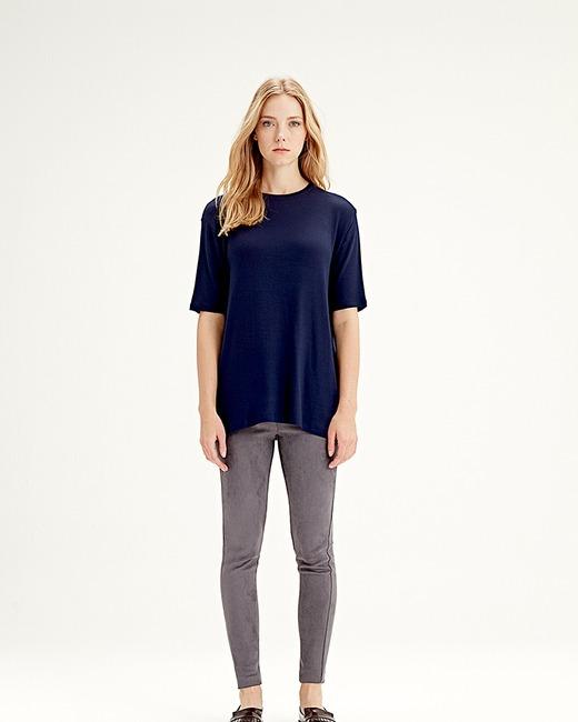 Mizalle - Kısa Kollu T-Shirt (Lacivert) (1)