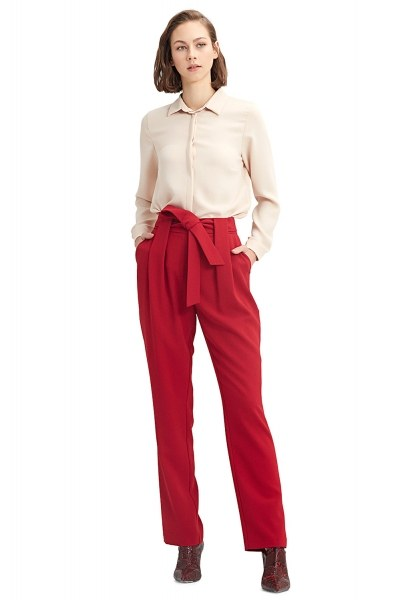 Belt Detailed Trousers (Claret Red) - Thumbnail